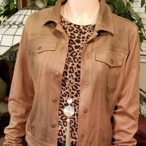 Jessica Simpson UltraSuede Brown Jacket M, NWOT